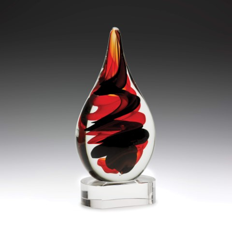 Art Glass Red & Black 220mm