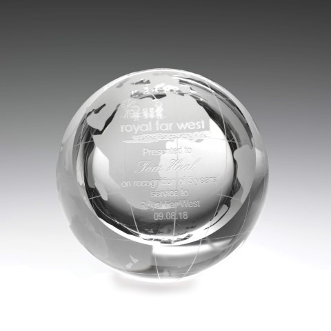 Crystal Globe Paperweight 75mm