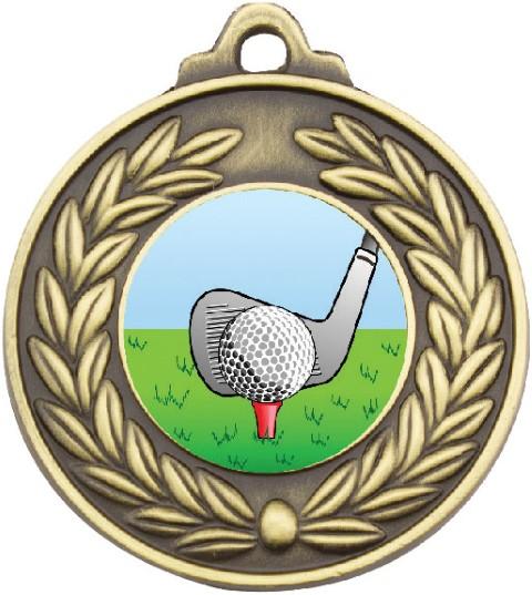 Antique Wreath Golf Medal Gold