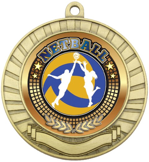 Eco Scroll Medal Netball Gold
