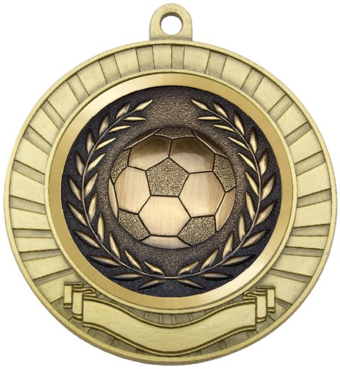 Eco Scroll Medal Soccer Gold