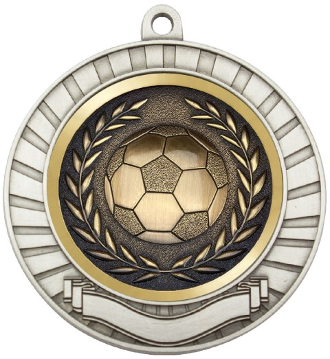 Eco Scroll Medal Soccer Silver